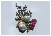 Ruby and special-shaped pearl brooch . Hi-Bespoke